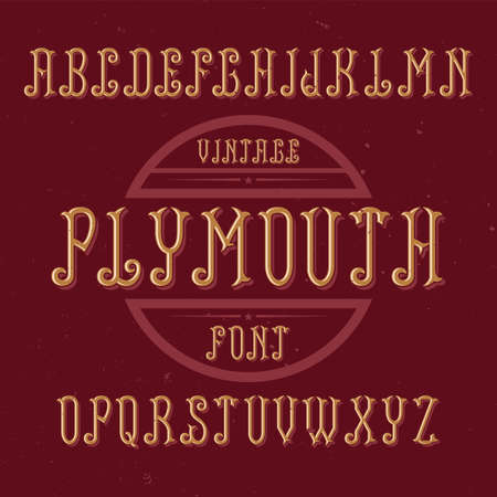Vintage label font named Plymouth. Good to use in any creative labels. Stock Vector - 82831508