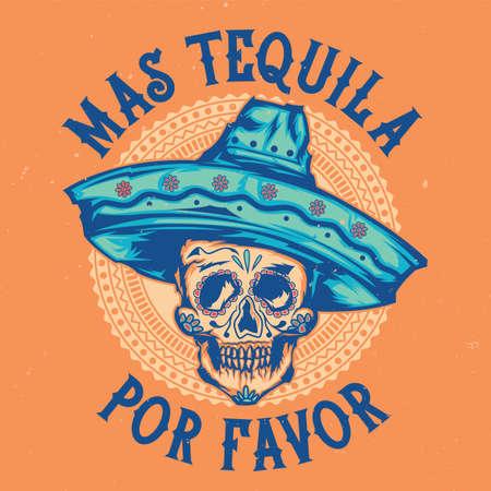 챙 넓은 모자에 멕시코 두개골의 일러스트와 함께 t- 셔츠 라벨 디자인 일러스트