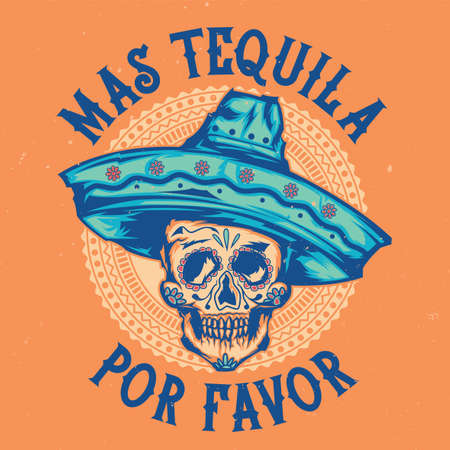 T-shirt label design with illustration of mexican skull in sombrero Vectores