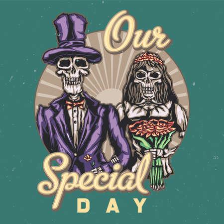 죽은 신부와 신랑의 그림이있는 티셔츠 또는 포스터 디자인 일러스트