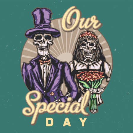 T-shirt or poster design with illustraion of dead bride and groom