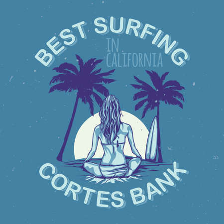 illustraion: T-shirt or poster design with illustraion of girl with surfing board