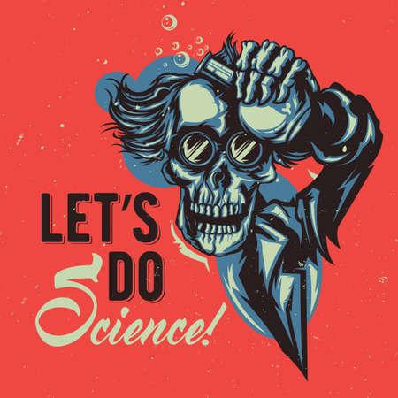 illustraion: T-shirt or poster design with illustraion of skeleton professor