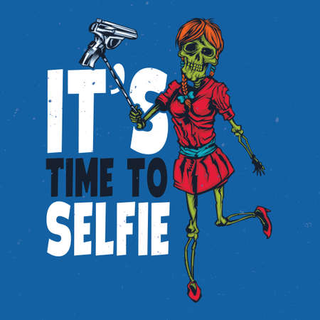 illustraion: T-shirt or poster design with illustraion of skeleton girl holding pistol on the selfish stick Illustration
