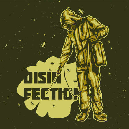 illustraion: T-shirt or poster design with illustraion of disinfection men