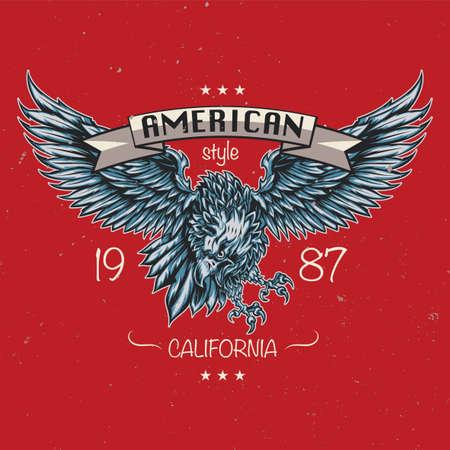 T-shirt ou poster design com ilustração da águia.
