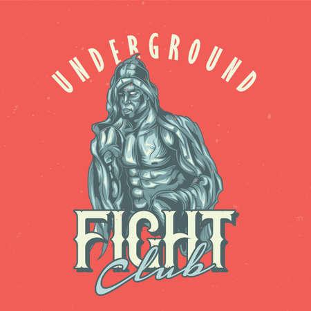 T-shirt label design with illustration of box fighter Illustration