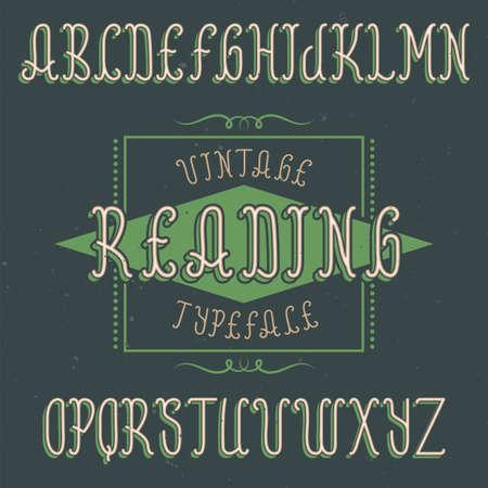 ビンテージ ラベル書体の名前読む。任意の型のラベルやロゴを使用する良いフォントです。