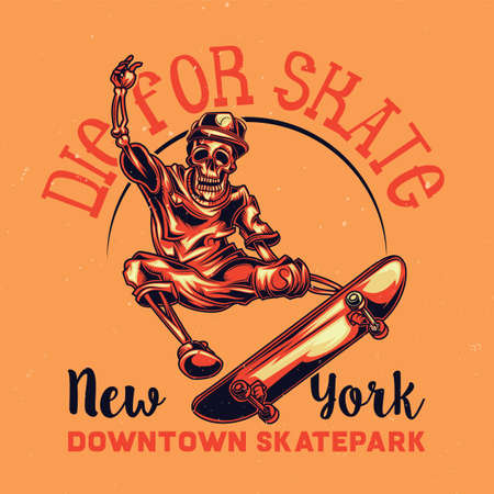T-shirt or poster design with illustration of skeleton on skate board
