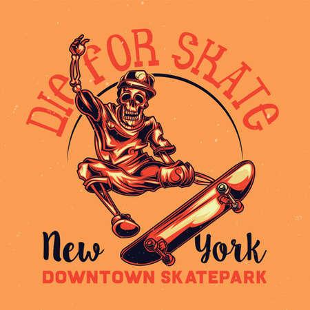 T-shirt of posterontwerp met illustratie van skelet op vleetraad Stock Illustratie