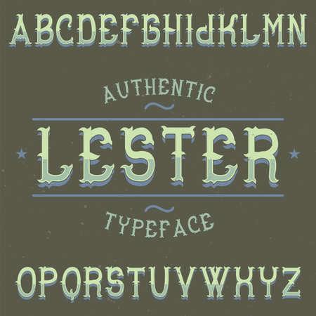 ビンテージ ラベル書体レスターの名前。任意の型のラベルやロゴを使用する良いフォントです。