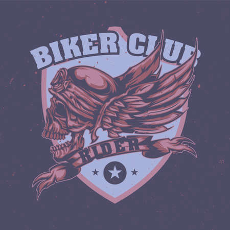T-shirt or poster design with illustration of skull at helmet and wings on the background Vectores