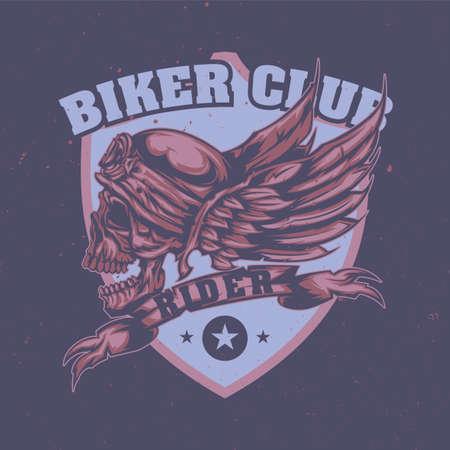 La camiseta o el cartel diseñan con la ilustración del cráneo en el casco y las alas en el fondo Ilustración de vector