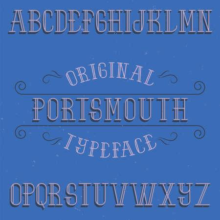 ビンテージ ラベル書体の名前ポーツマス。任意の型のラベルやロゴを使用する良いフォントです。