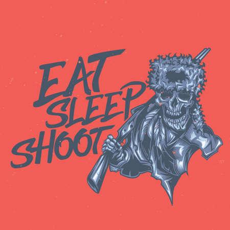 T-shirt or poster design with illustration of dead hunter Illustration