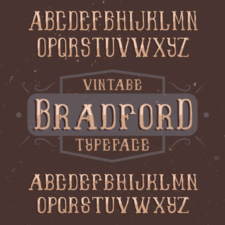 ビンテージ ラベル書体の名前ブラッドフォード。任意の型のラベルやロゴを使用する良いフォントです。