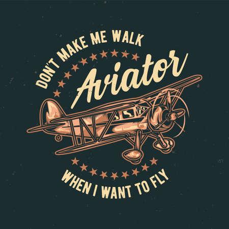 ヴィンテージ飛行機のイラスト t シャツやポスターのデザイン  イラスト・ベクター素材