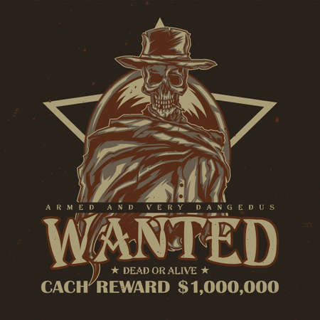 T-shirt or poster design with illustration of skeleton in cowboy hat