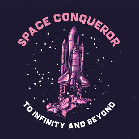 spacesuit: T-shirt or poster design with illustration of space ship Illustration