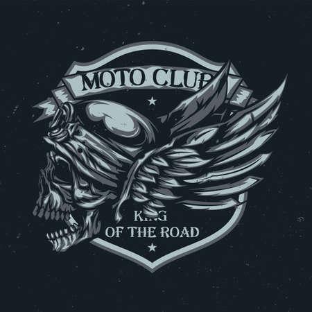 La camiseta o el cartel diseñan con la ilustración del cráneo en el casco y las alas en el fondo