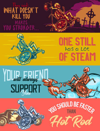 dropper: Web banner template with illustrations of skeleton on wheelchair with dropper, steam and dog.