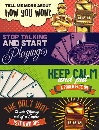 Web banner template with illustrations of a policeman, a casino, pocker cards and slot machine.