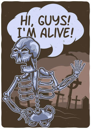 T-shirt or poster design with illustration of a skeleton near the cemetery. 일러스트