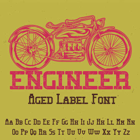 Original label typeface named Engineer. Good to use in any label design.