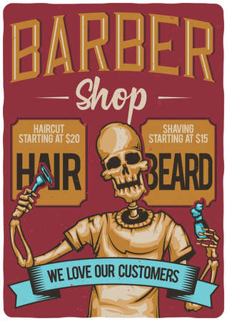 T-shirt or poster design with illustration of a barber shop. Stock fotó - 89577889