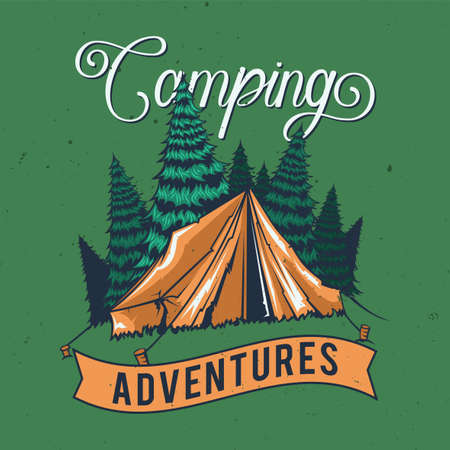 T-shirt or poster design with illustration of a tent.