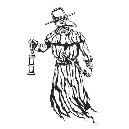 Isolated illustration of plague doctor