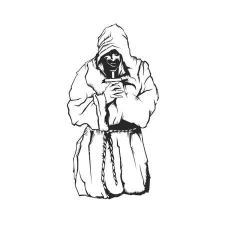 Isolated illustration of Praying monk