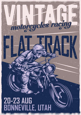 T-shirt or poster design with illustration of classic man on motorcycle 向量圖像