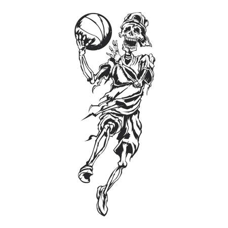 Illustration of skeleton streetball player