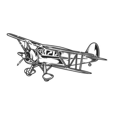 Illustration of vintage airplane Vektorové ilustrace
