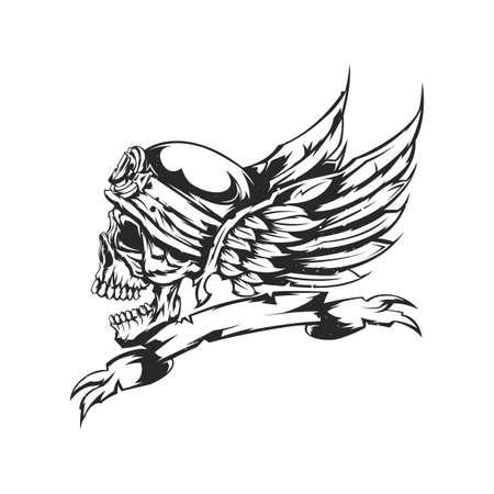Ilustración del cráneo en el casco y las alas en el fondo