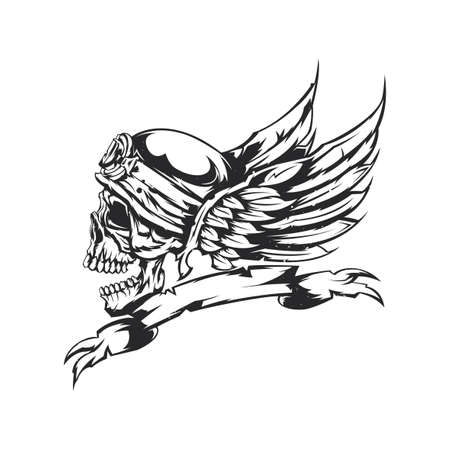 Illustration of skull at helmet and wings on the background