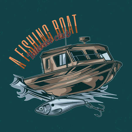 Nautical theme t-shirt label design with illustration of fishing boat