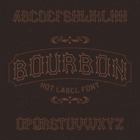 Vintage label typeface named Bourbon. Good font to use in any vintage labels.  イラスト・ベクター素材