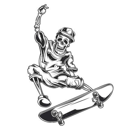 Vector illustration of skeleton on skate board. Vectores