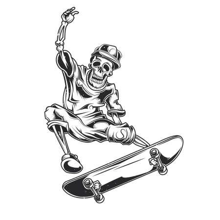 Vector illustration of skeleton on skate board. Illustration