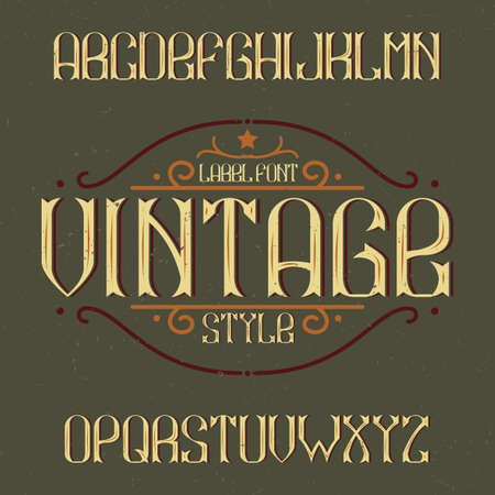 Vintage label typeface named Vintage. Good font to use in any vintage labels or icon.  イラスト・ベクター素材