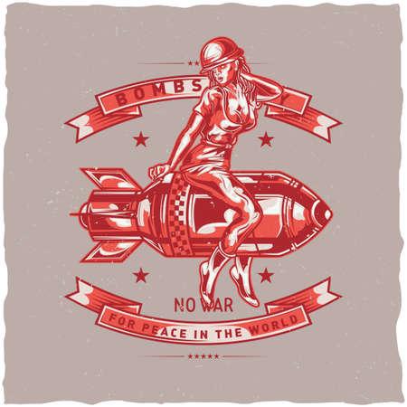 ●爆弾に座る少女のイラストが入ったTシャツラベルデザイン  イラスト・ベクター素材