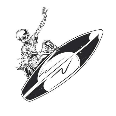 Illustratie van skelet op surfplank geïsoleerd op effen achtergrond.
