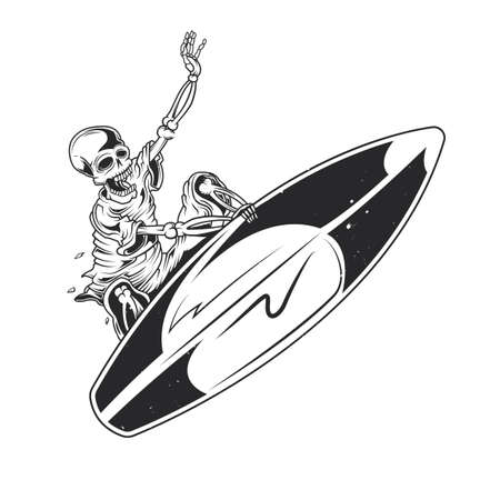Illustration of skeleton on surfing board isolated on plain background. Vettoriali