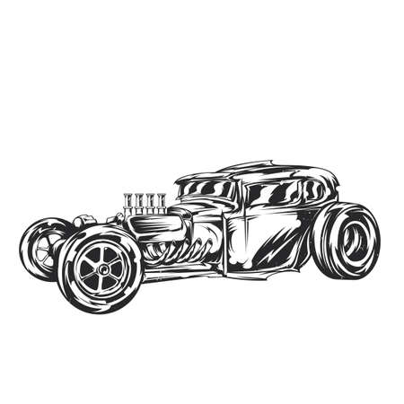 Illustration of custom hot rod Vettoriali