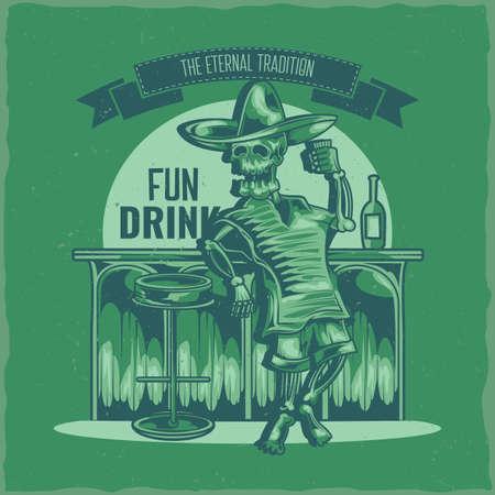 T-shirt label design with illustration of mexican drunk skeleton