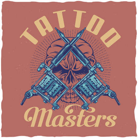 T-shirt label design with illustration of tattoo machines