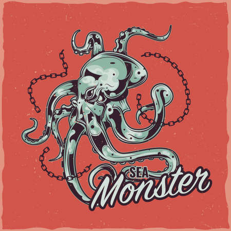 T-shirt label design with illustration of octopus