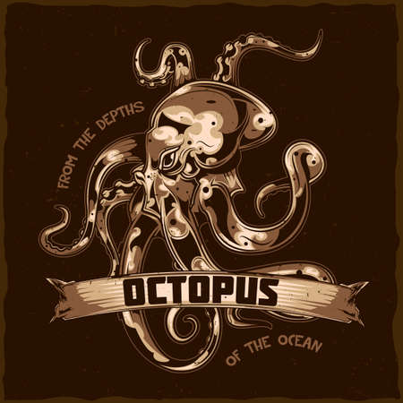 T-shirt label design with illustration of octopus.